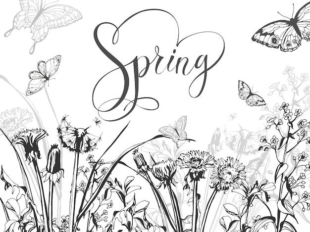 Fondo de primavera con hierba, diente de león en flor y mariposas. vector de plantilla