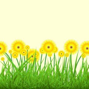 Fondo de primavera con hierba verde y flores amarillas