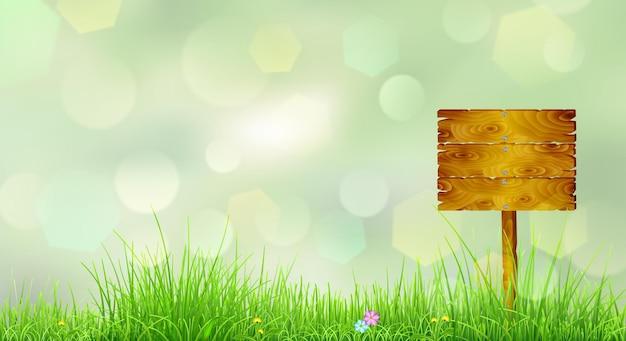 Fondo de primavera con hierba verde, flores y puntero de madera
