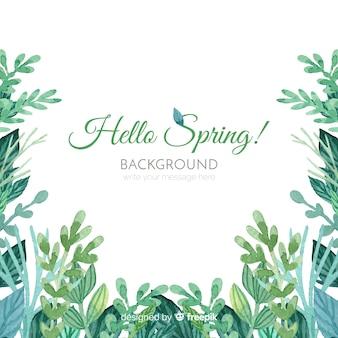 Fondo primavera hojas acuarela