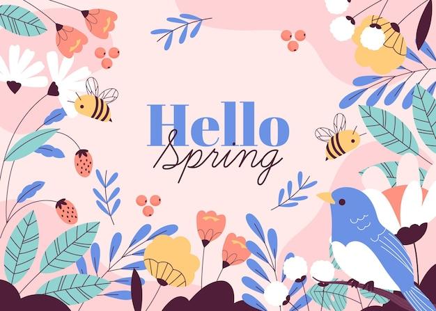 Fondo de primavera hola dibujado