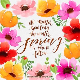 Fondo de primavera con lettering
