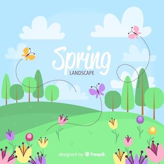 Fondo primavera mariposas en el campo