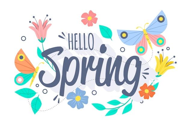Fondo de primavera con mariposas y pájaros