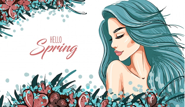 Fondo de primavera con mujer niña de cabello azul