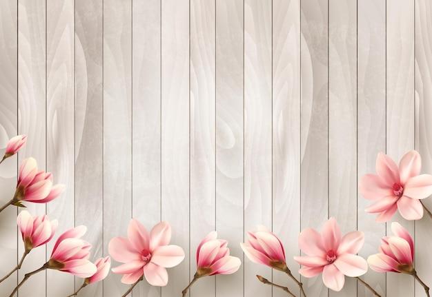 Fondo de primavera de naturaleza con hermosas ramas de magnolia en cartel de madera.
