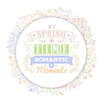 Fondo de primavera o verano con flores y adornos con espacio para texto.