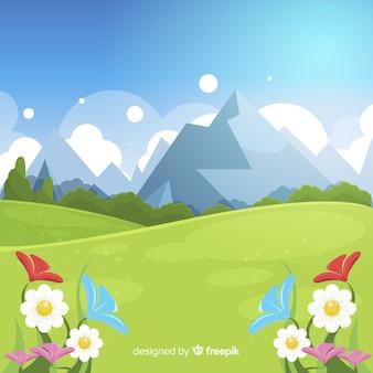 Fondo primavera paisaje dibujado a mano