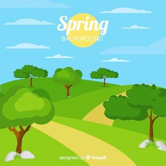 Fondo primavera paisaje soleado