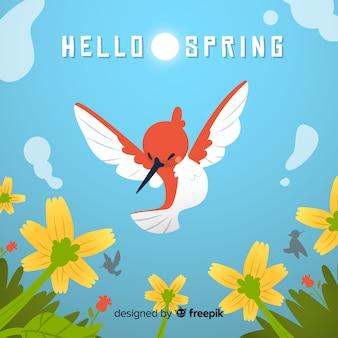 Fondo primavera pájaro volando