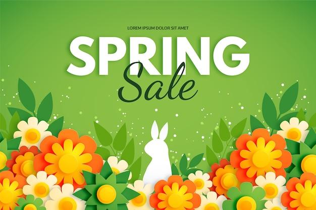 Fondo de primavera en papel colorido estilo con conejo y flores.