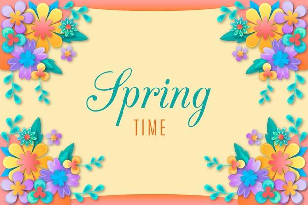 Fondo de primavera en papel colorido estilo