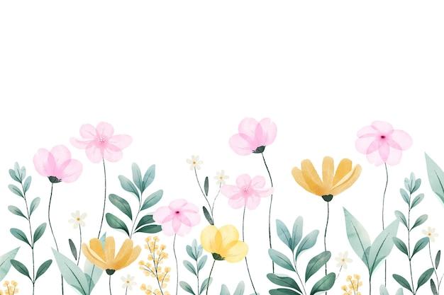 Fondo de primavera pintado en acuarela