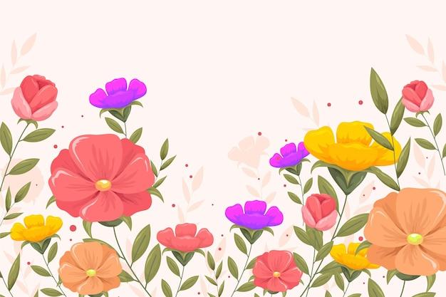 Fondo de primavera plano detallado