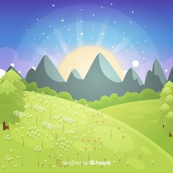 Fondo primavera puesta de sol dibujada a mano