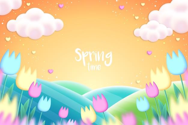 Fondo de primavera realista con flores