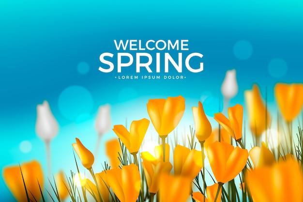 Fondo de primavera realista con tulipanes en campo