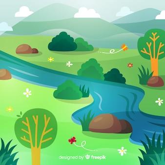Fondo primavera río dibujado a mano