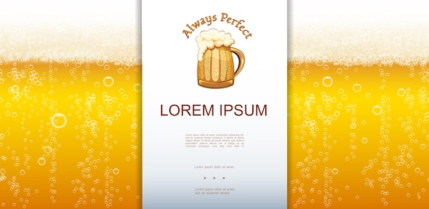 Fondo de primer plano de cerveza lager fresca realista