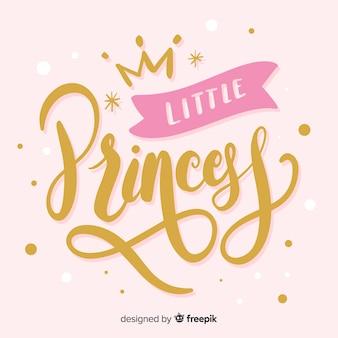 Fondo princesa caligráfico dibujado a mano