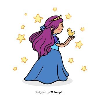 Fondo princesa dibujada a mano