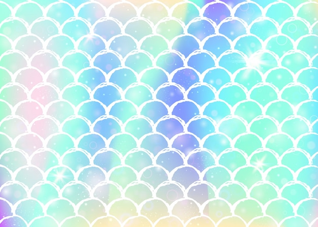 Fondo de princesa sirena con escamas de arco iris kawaii.