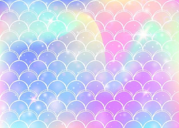 Fondo de princesa sirena con patrón de escamas de arco iris kawaii.