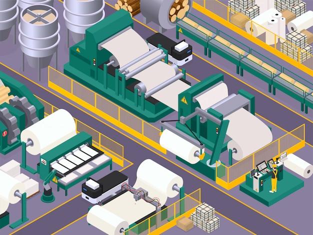 Fondo de producción de papel con transportador y símbolos de fabricación isométricos