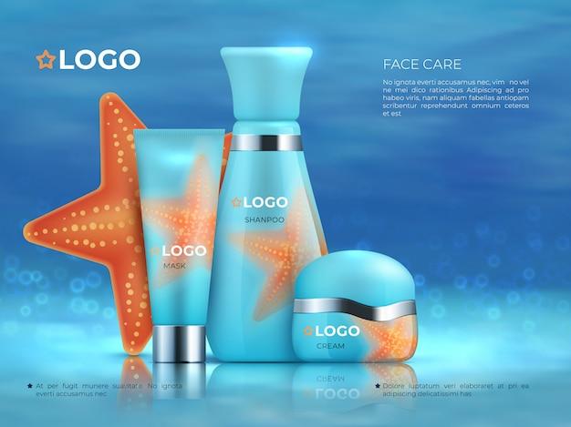 Fondo de producto cosmético. cuidado de la belleza producto cosmético cuidado de la piel promoción 3d botella de crema. plantilla cosmética realista