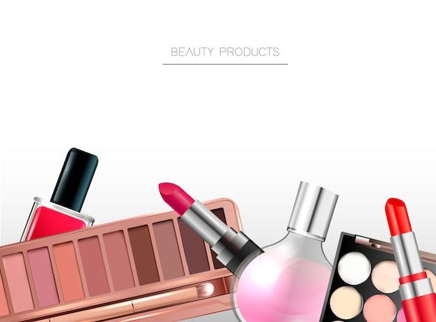 Fondo de productos de belleza.
