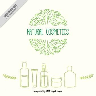 Fondo de productos cosméticos naturales dibujados a mano