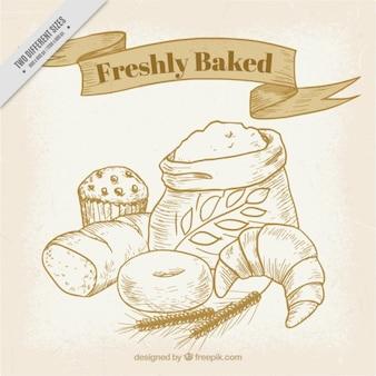 Fondo de productos d panadería dibujados a mano