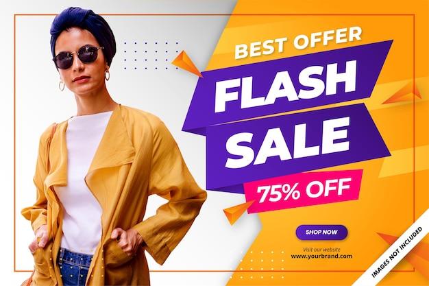 Fondo de promoción de banner de descuento de venta flash