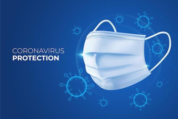 Fondo de protección de coronavirus con mascarilla.