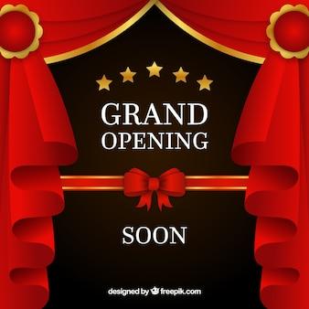 Fondo de próxima apertura con cortinas rojas