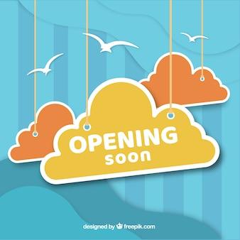 Fondo de próxima apertura en estilo 3d