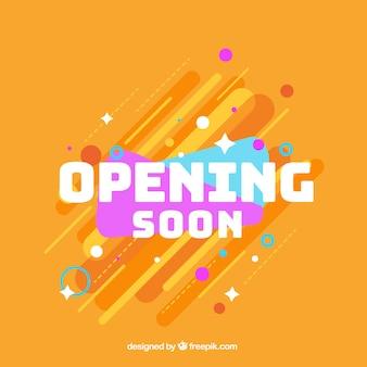 Fondo de próxima apertura en estilo plano