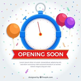 Fondo de próxima apertura con globos en estilo plano