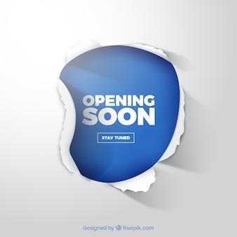 Fondo de próxima apertura con señal de papel