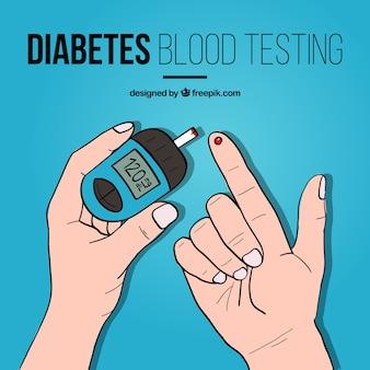 Fondo de prueba de sangre de diabetes