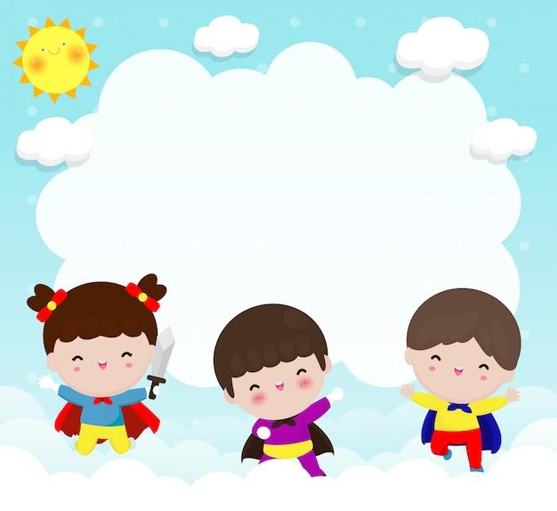 Fondo de publicidad de niños superhéroe, plantilla para folleto publicitario, su texto, lindo pequeño superhéroe niños y marco, héroe infantil y copia espacio aislado en la ilustración de fondo
