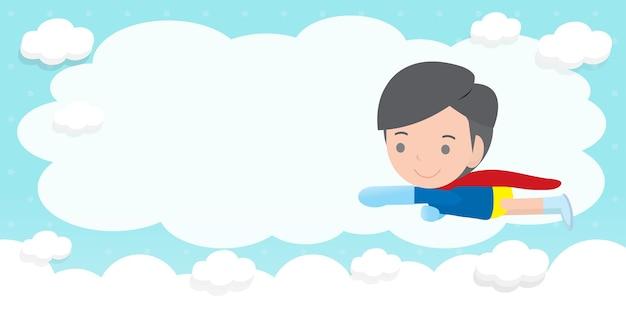 Fondo de publicidad de niños superhéroes, plantilla para folleto publicitario, su texto, niños pequeños y lindos superhéroes y marco, héroe infantil y espacio de copia aislado en la ilustración de fondo