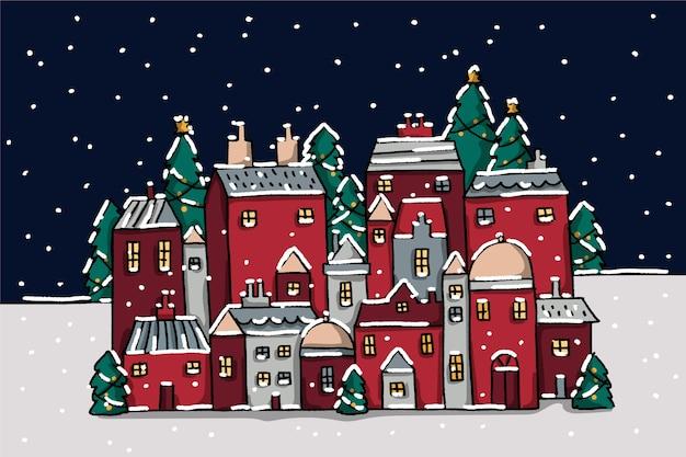 Fondo de pueblo de navidad dibujado a mano