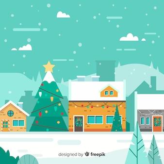 Fondo de pueblo de navidad en diseño flat