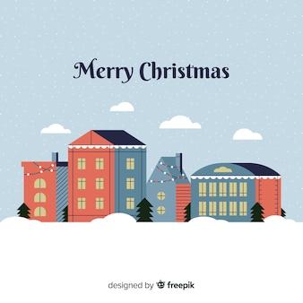 Fondo de pueblo de navidad en estilo flat