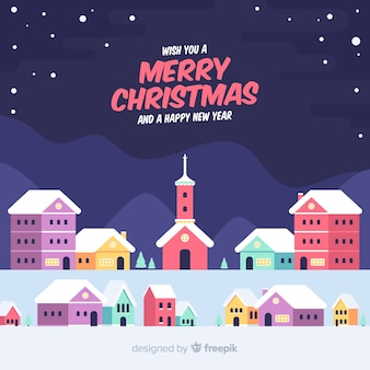 Fondo de pueblo de navidad hermoso flat