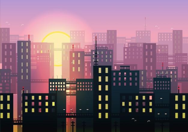 Fondo de puesta de sol y perfil de ciudad