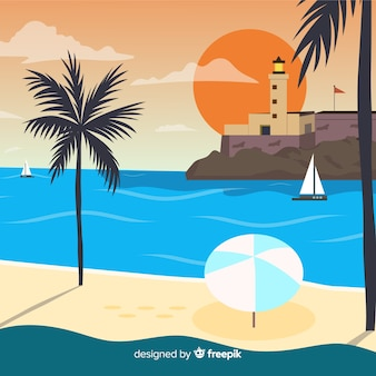 Fondo puesta de sol en la playa