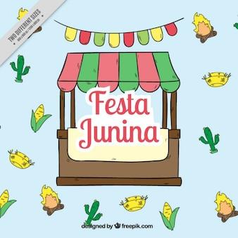 Fondo de puesto de fiesta junina dibujado a mano con elementos
