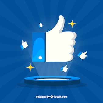 Fondo de pulgar arriba de facebook en estilo plano